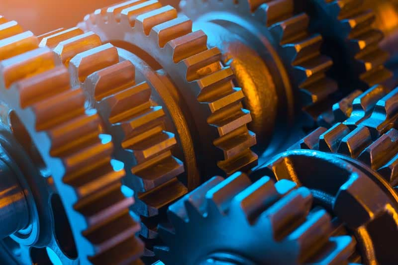 closeup of gears turning