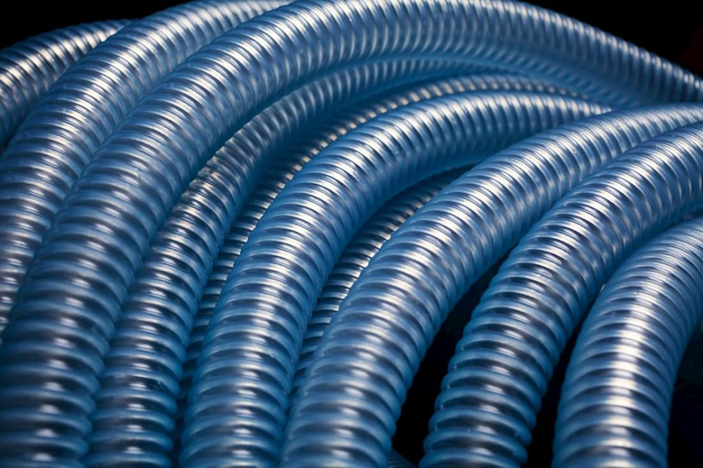rows of blue transparent tubing