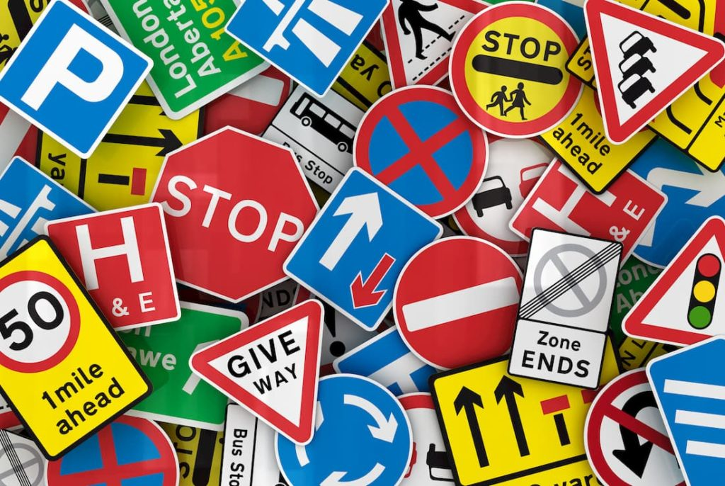 assortment of road and safety signs graphic