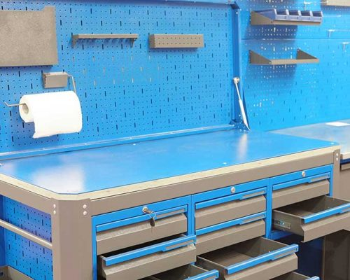 hygienic metal cleaning work space bench